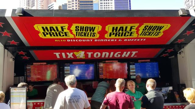 discount las vegas show tickets Find a complete list of all our HALF PRICE TICKET BOOTH locations. You'll always find the biggest selection of DISCOUNT VEGAS SHOWS at Tix4Tonight, the largest seller of show tickets in all of Las Vegas.