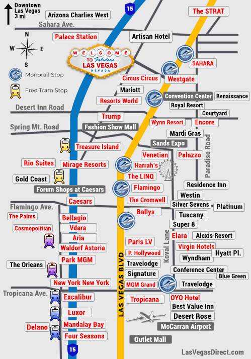 Map Of The Strip Las Vegas Las Vegas Strip Hotel Map (2019) | Las Vegas Direct
