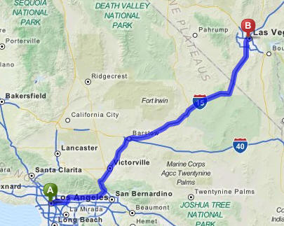 LA to Vegas Driving Map